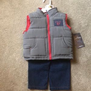 Lucky Brand Vest and Jeans Set 12 months